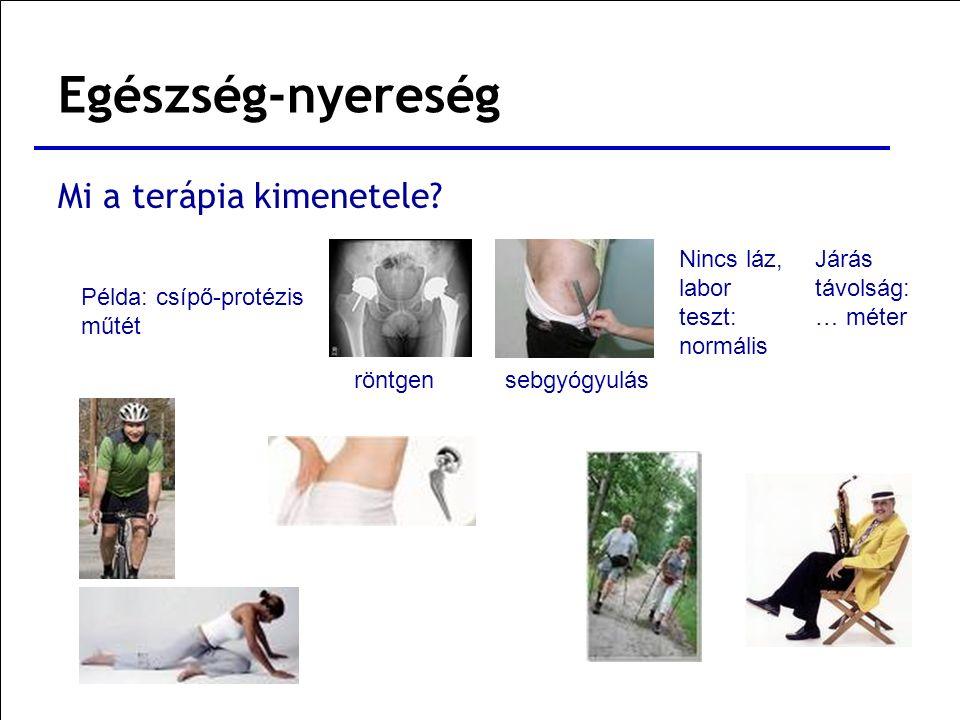 Mi a terápia kimenetele? Példa: csípő-protézis műtét röntgensebgyógyulás Nincs láz, labor teszt: normális Járás távolság: … méter