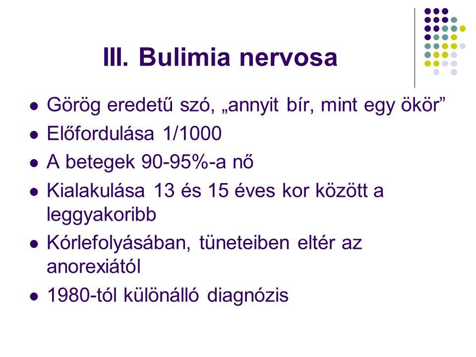 """III. Bulimia nervosa Görög eredetű szó, """"annyit bír, mint egy ökör"""" Előfordulása 1/1000 A betegek 90-95%-a nő Kialakulása 13 és 15 éves kor között a l"""