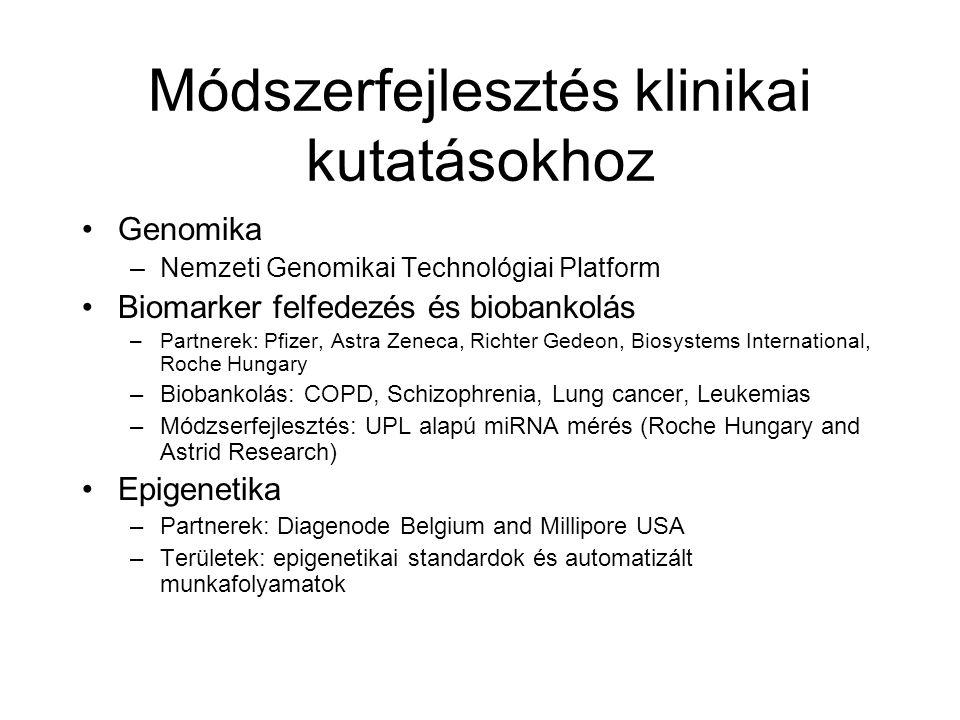 Módszerfejlesztés klinikai kutatásokhoz Genomika –Nemzeti Genomikai Technológiai Platform Biomarker felfedezés és biobankolás –Partnerek: Pfizer, Astra Zeneca, Richter Gedeon, Biosystems International, Roche Hungary –Biobankolás: COPD, Schizophrenia, Lung cancer, Leukemias –Módzserfejlesztés: UPL alapú miRNA mérés (Roche Hungary and Astrid Research) Epigenetika –Partnerek: Diagenode Belgium and Millipore USA –Területek: epigenetikai standardok és automatizált munkafolyamatok