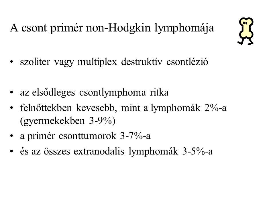 The Oncologist 2014; 19:1-8 Annals of Oncology 25: 176-181, 2014 IELSG 14 373 csont DLBCL - 78 patológiás törés dg-kor - 5 éves túlélés: 68% vs 54% Az antracyclin –tartalmú KT, melyet RT követ a legjobb protokoll A kezelés előtti törésstabilizálás nem javít az eredményeken A beteg életminőségének javítása céljából csak akkor kerüljön rá sor, ha a KT emiatt nem halasztódik .