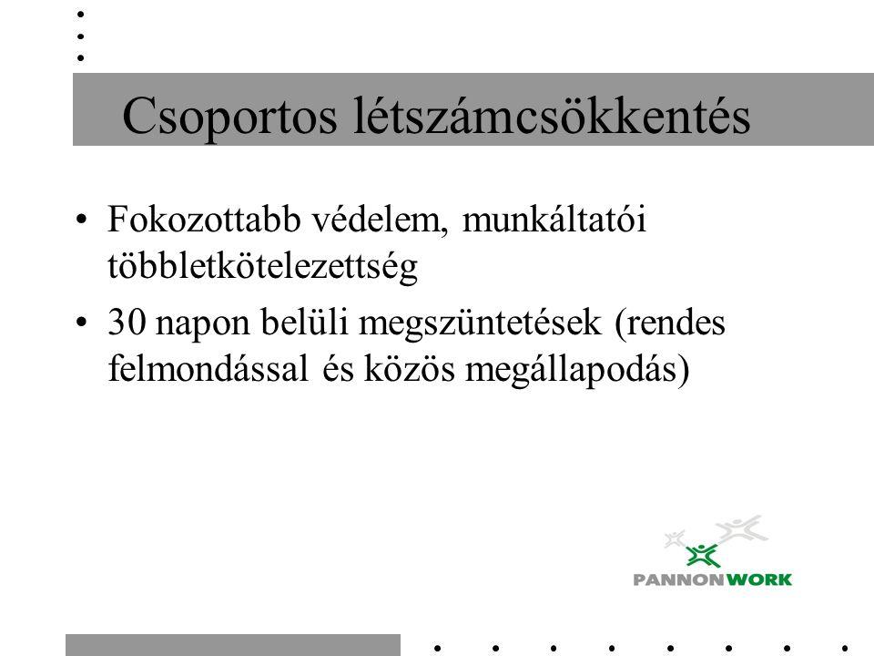 Csoportos létszámcsökkentés Fokozottabb védelem, munkáltatói többletkötelezettség 30 napon belüli megszüntetések (rendes felmondással és közös megállapodás)