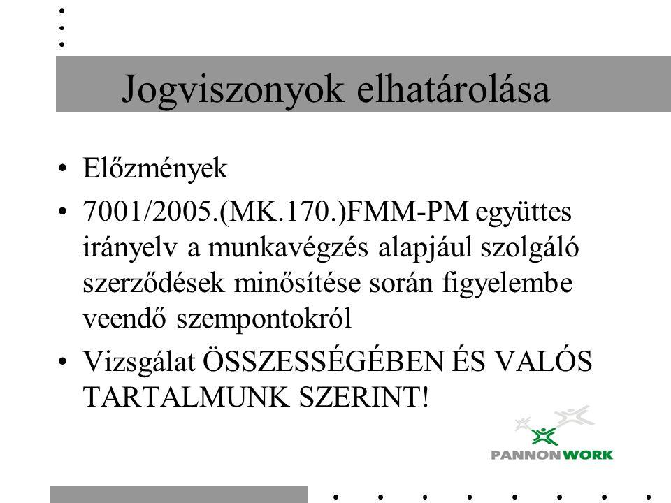 Jogviszonyok elhatárolása Előzmények 7001/2005.(MK.170.)FMM-PM együttes irányelv a munkavégzés alapjául szolgáló szerződések minősítése során figyelem