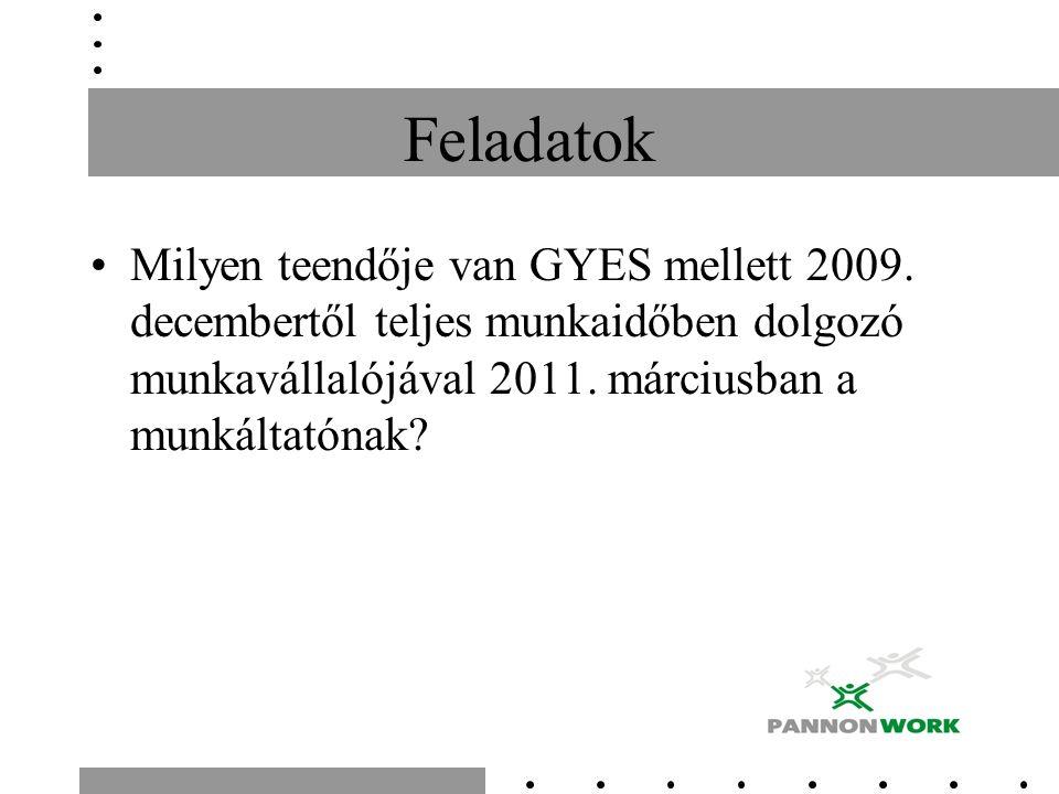 Feladatok Milyen teendője van GYES mellett 2009. decembertől teljes munkaidőben dolgozó munkavállalójával 2011. márciusban a munkáltatónak?