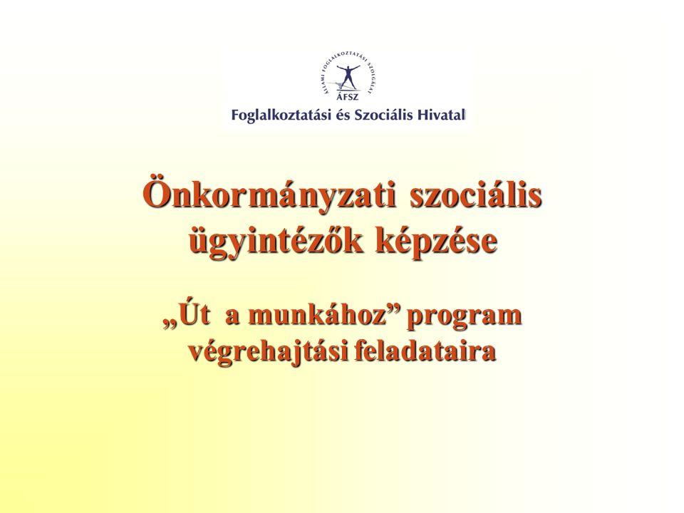 """Önkormányzati szociális ügyintézők képzése """"Út a munkához program végrehajtási feladataira"""