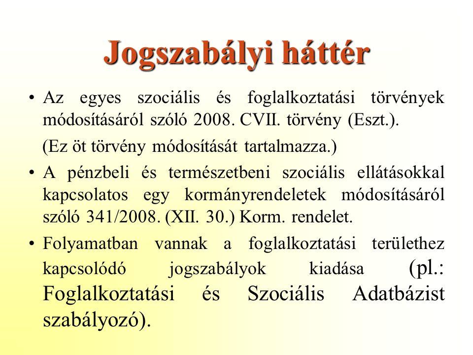 Jogszabályi háttér Az egyes szociális és foglalkoztatási törvények módosításáról szóló 2008.