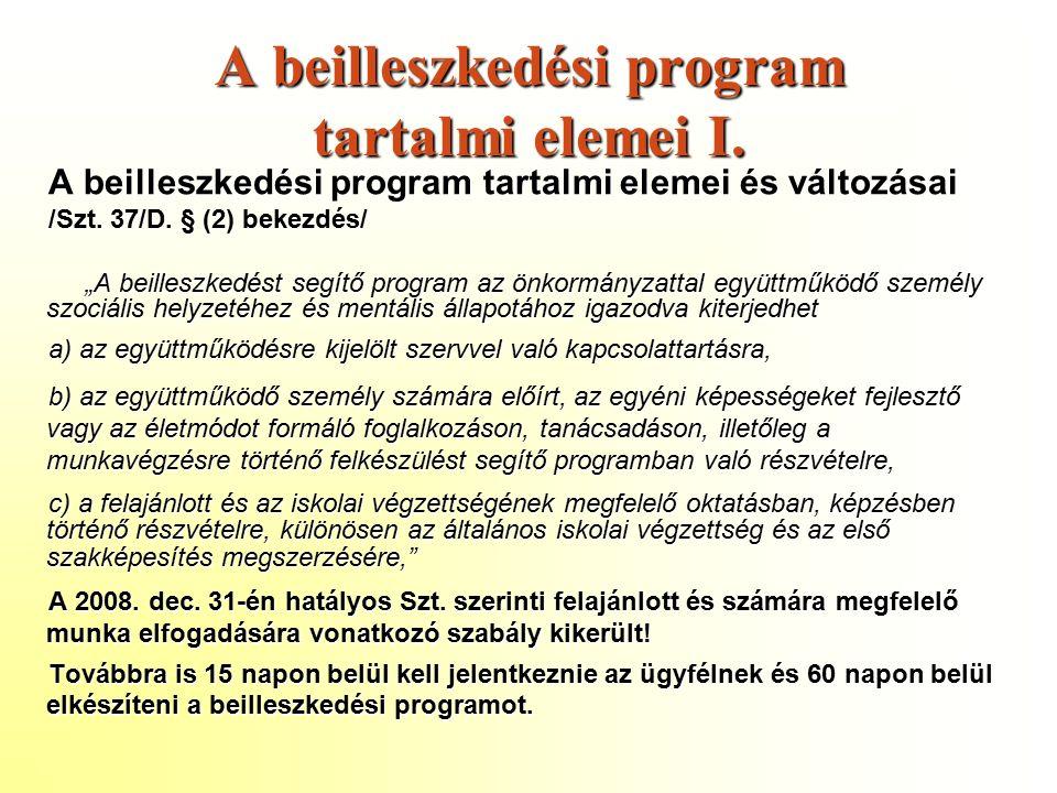 A beilleszkedési program tartalmi elemei I.