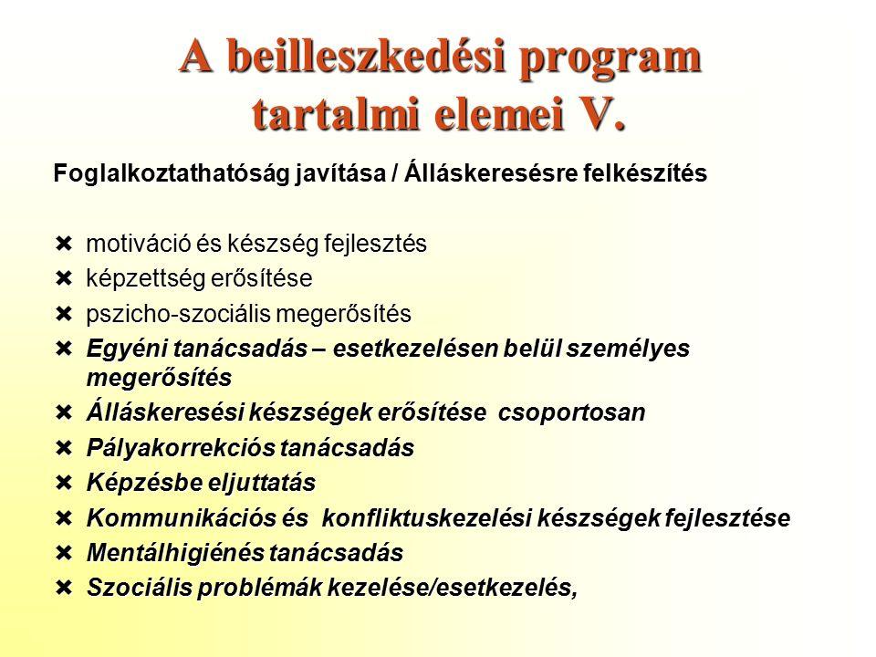 A beilleszkedési program tartalmi elemei V.