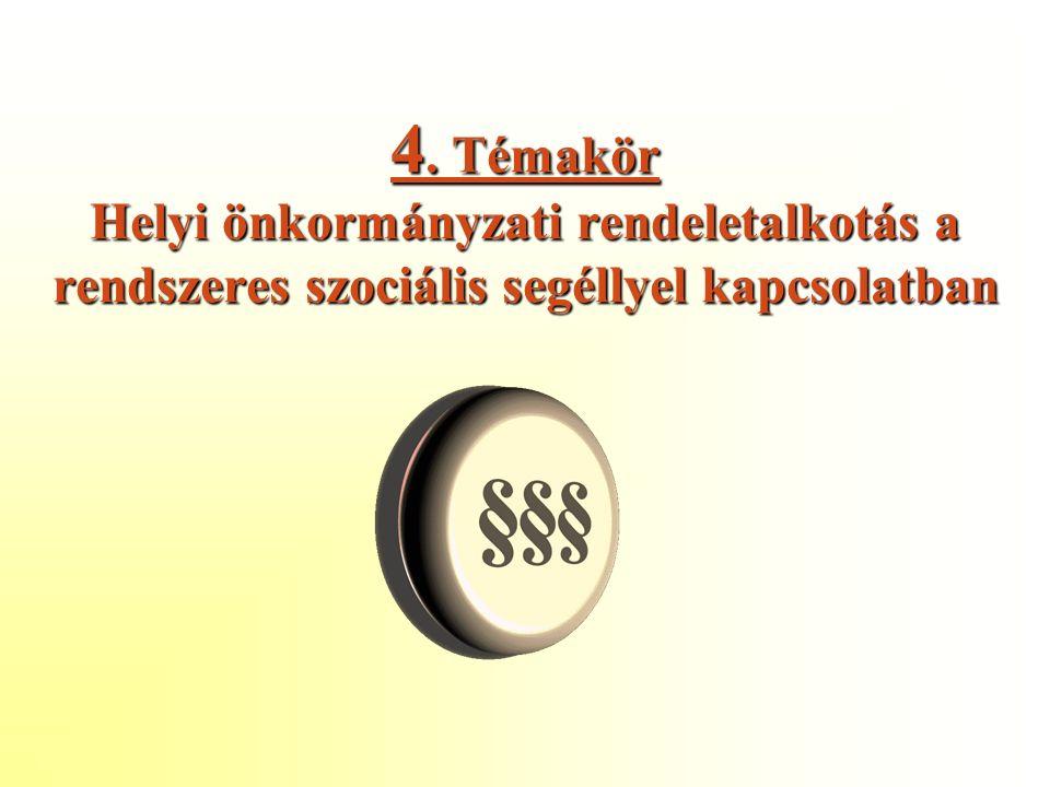 4. Témakör Helyi önkormányzati rendeletalkotás a rendszeres szociális segéllyel kapcsolatban
