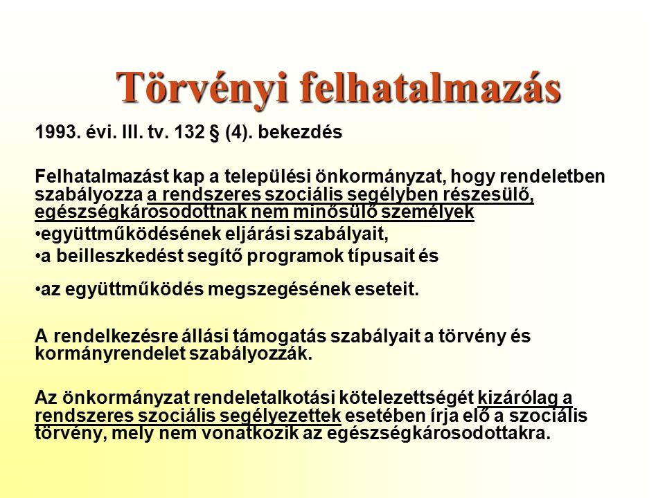 Törvényi felhatalmazás 1993. évi. III. tv. 132 § (4).