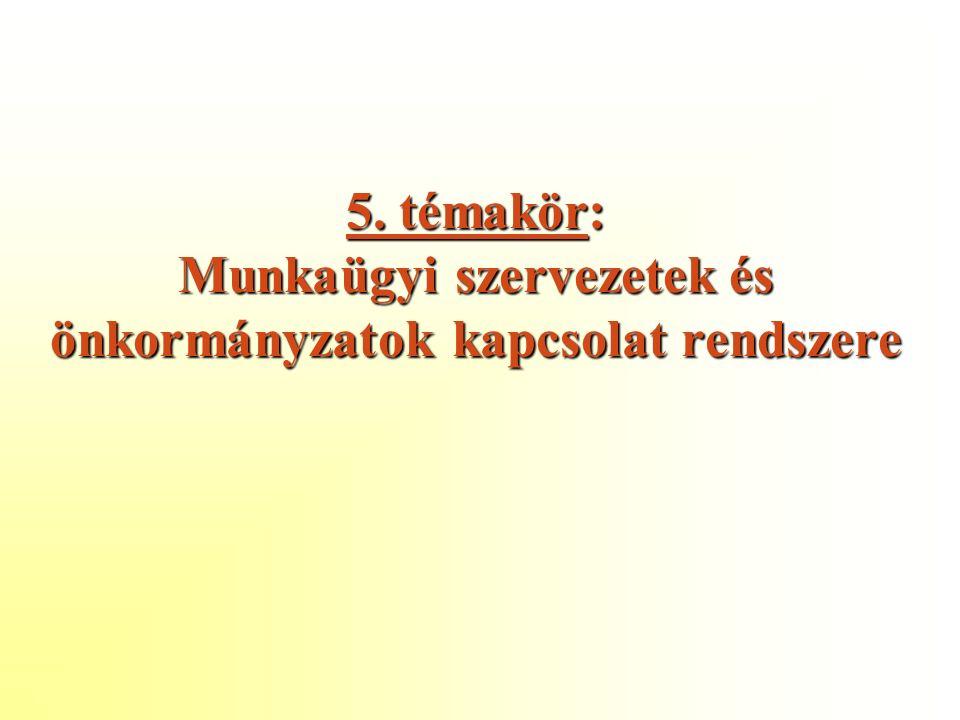 5. témakör: Munkaügyi szervezetek és önkormányzatok kapcsolat rendszere