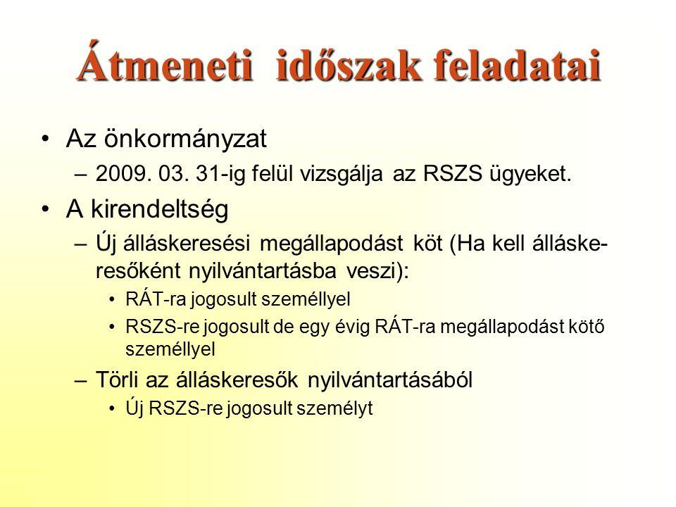 Átmeneti időszak feladatai Az önkormányzat –2009. 03.