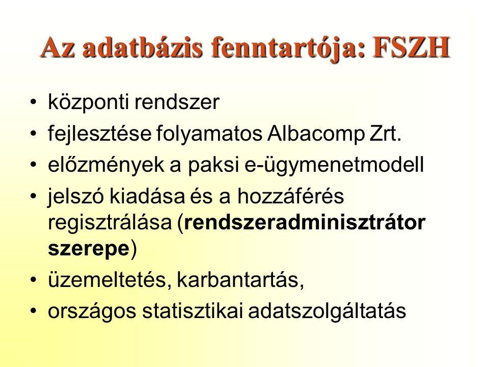 Az adatbázis fenntartója: FSZH központi rendszer fejlesztése folyamatos Albacomp Zrt.