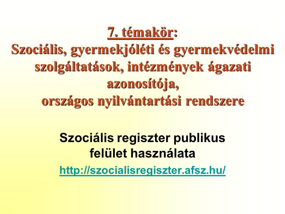 7. témakör: Szociális, gyermekjóléti és gyermekvédelmi szolgáltatások, intézmények ágazati azonosítója, országos nyilvántartási rendszere Szociális re