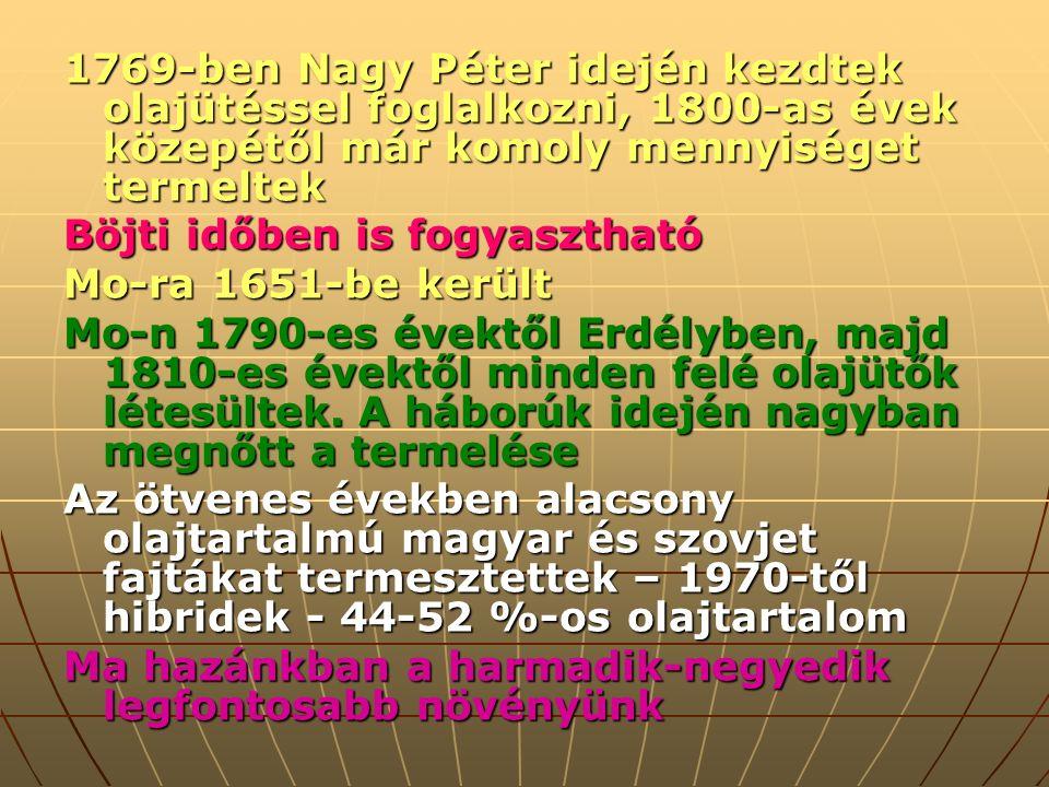 1769-ben Nagy Péter idején kezdtek olajütéssel foglalkozni, 1800-as évek közepétől már komoly mennyiséget termeltek Böjti időben is fogyasztható Mo-ra 1651-be került Mo-n 1790-es évektől Erdélyben, majd 1810-es évektől minden felé olajütők létesültek.