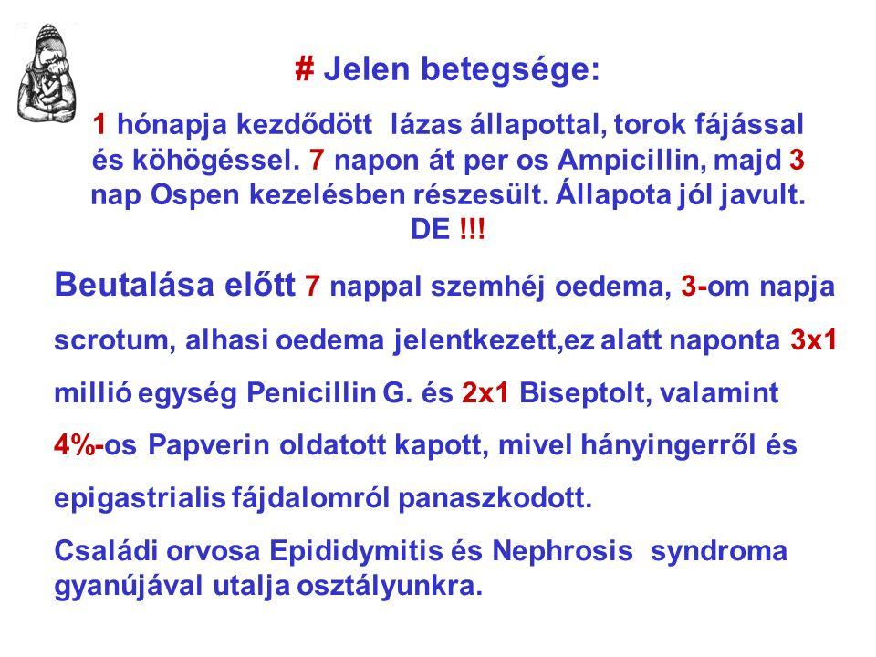 # Jelen betegsége: 1 hónapja kezdődött lázas állapottal, torok fájással és köhögéssel.