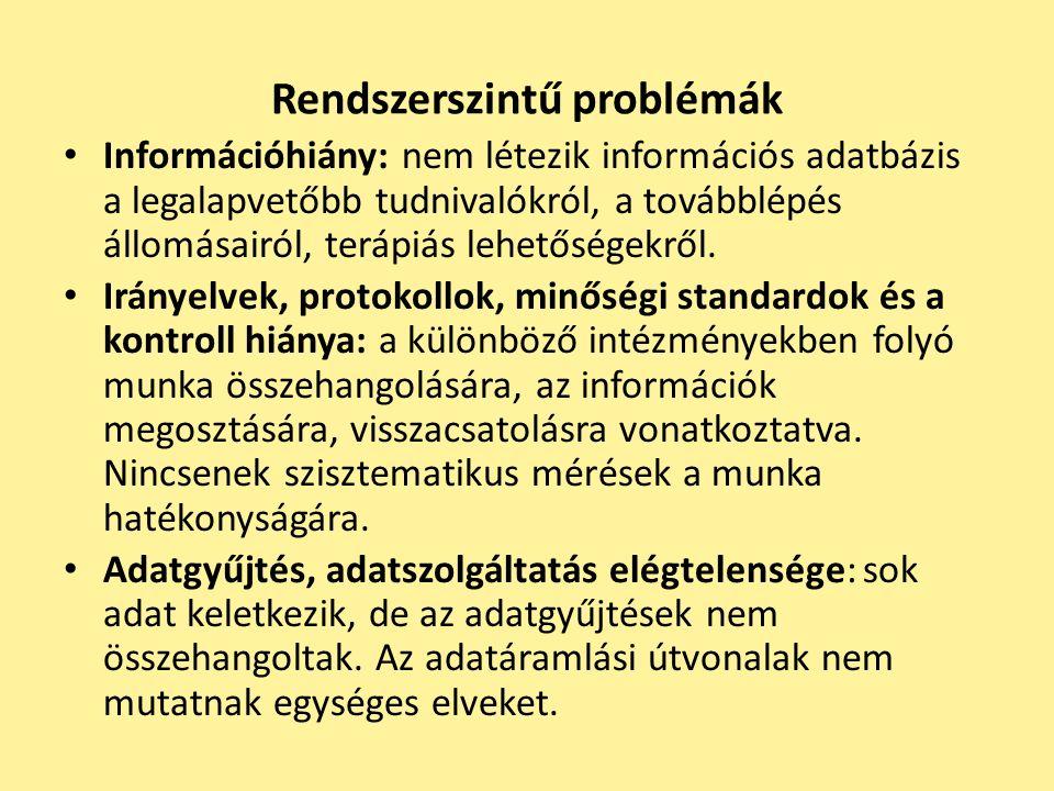Rendszerszintű problémák Információhiány: nem létezik információs adatbázis a legalapvetőbb tudnivalókról, a továbblépés állomásairól, terápiás lehető
