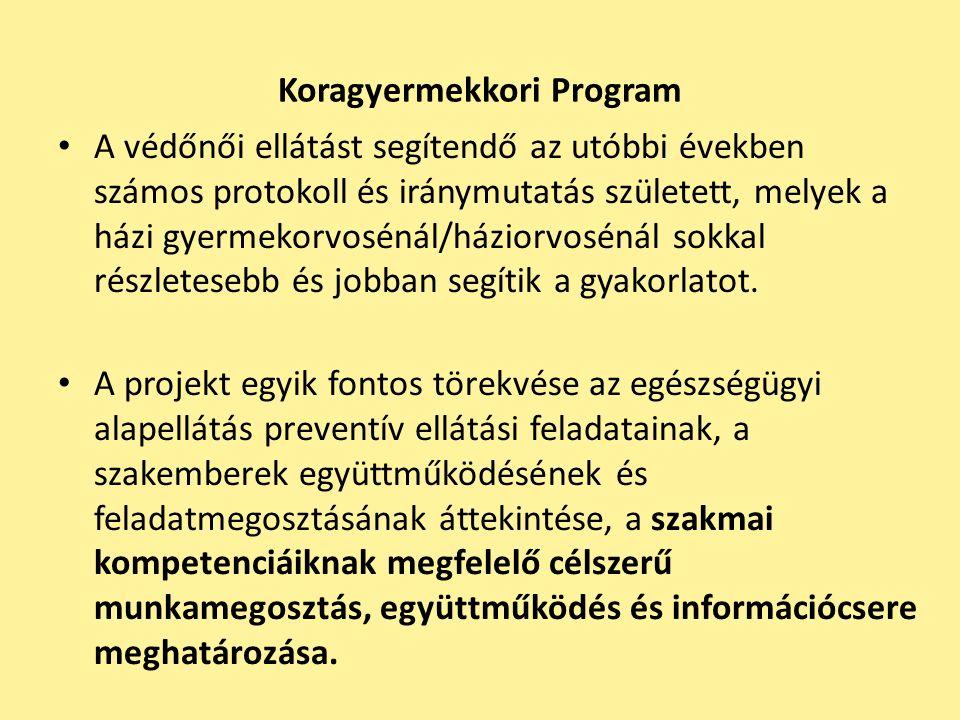 Koragyermekkori Program A védőnői ellátást segítendő az utóbbi években számos protokoll és iránymutatás született, melyek a házi gyermekorvosénál/házi