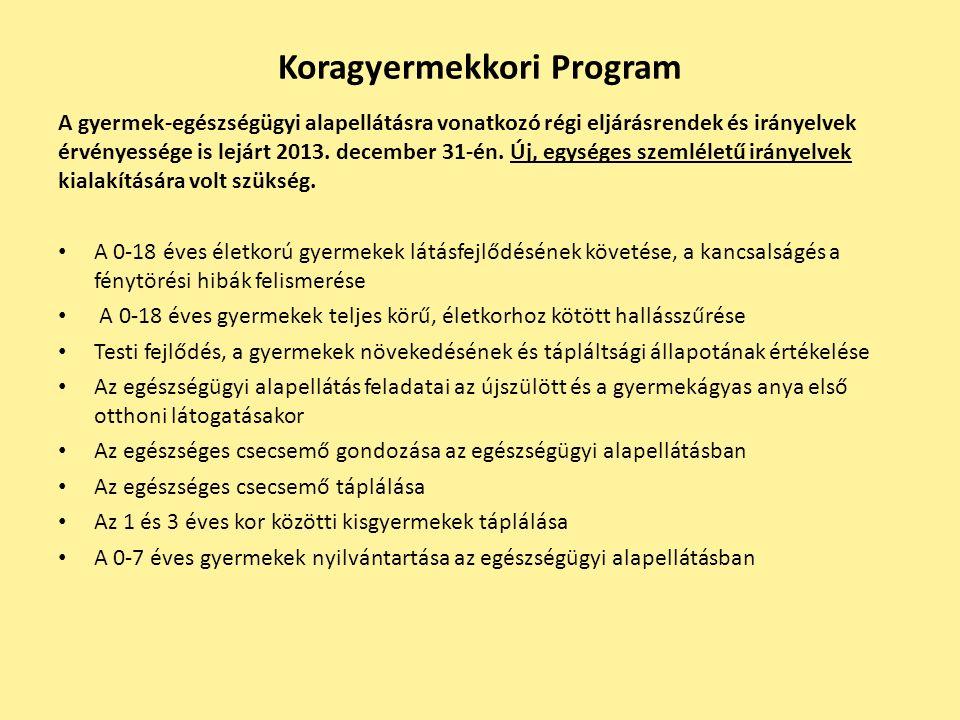 Koragyermekkori Program A gyermek-egészségügyi alapellátásra vonatkozó régi eljárásrendek és irányelvek érvényessége is lejárt 2013. december 31-én. Ú