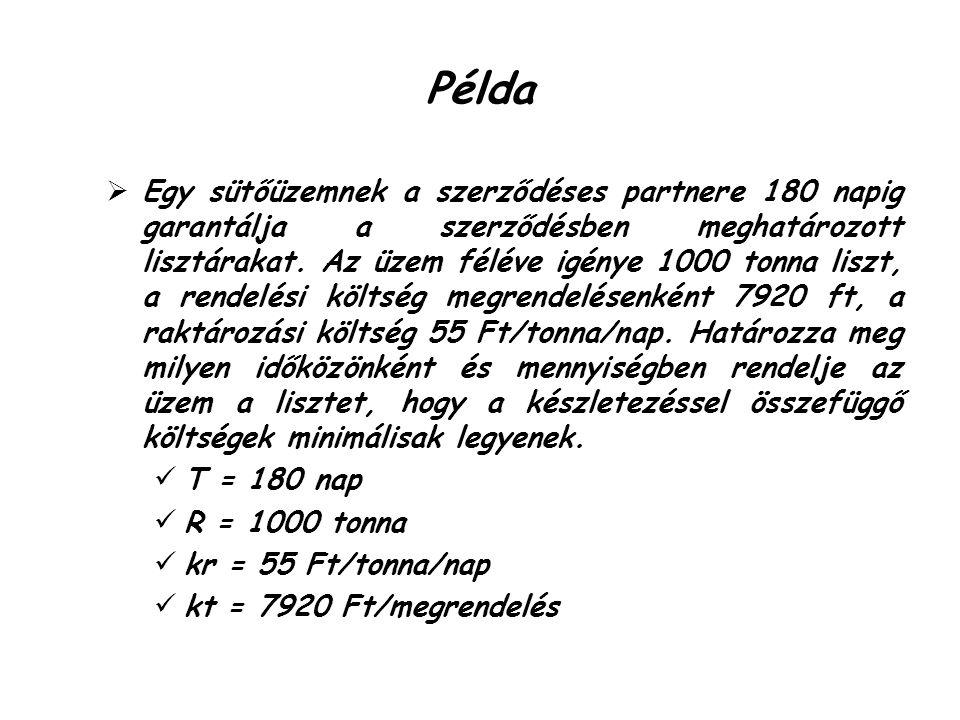 Példa  Egy sütőüzemnek a szerződéses partnere 180 napig garantálja a szerződésben meghatározott lisztárakat.