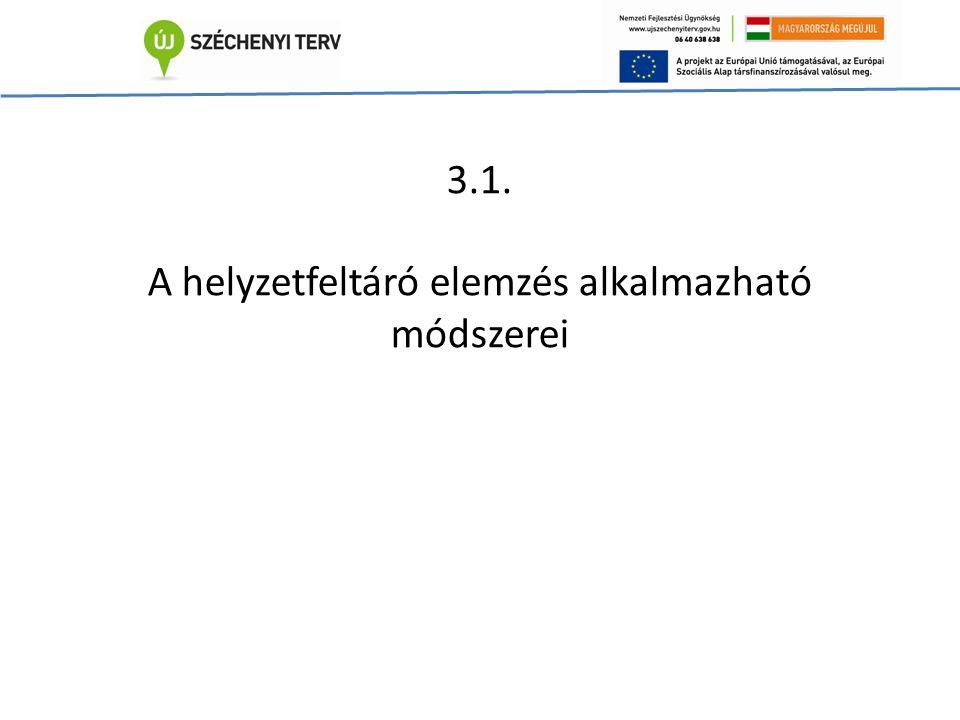 3.1. A helyzetfeltáró elemzés alkalmazható módszerei