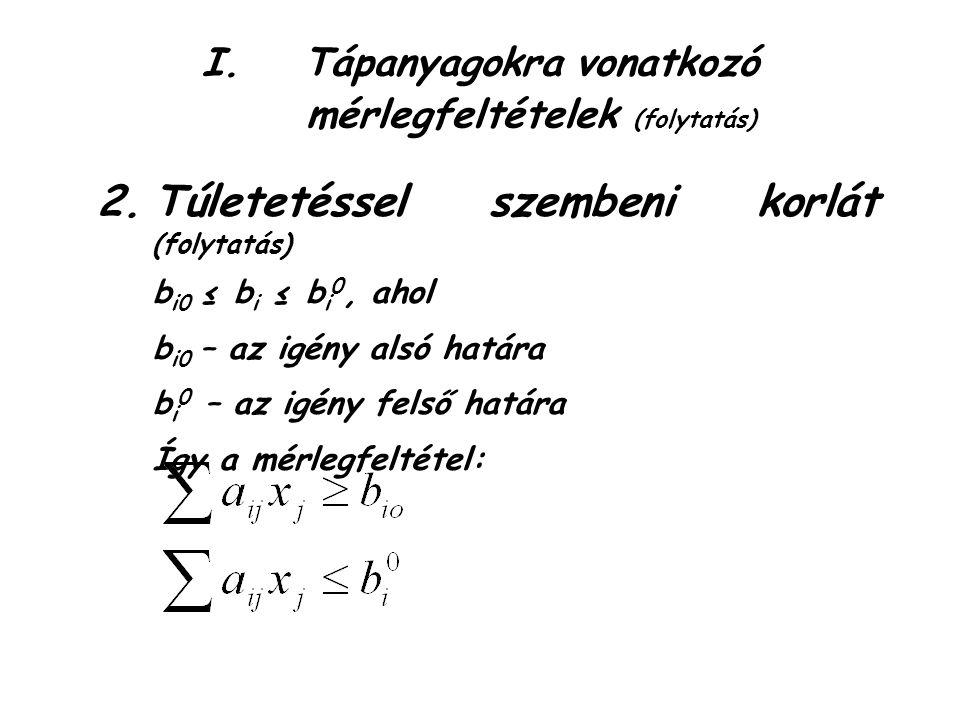 I.Tápanyagokra vonatkozó mérlegfeltételek (folytatás) 2.Túletetéssel szembeni korlát (folytatás) b i0 ≤ b i ≤ b i 0, ahol b i0 – az igény alsó határa b i 0 – az igény felső határa Így a mérlegfeltétel: