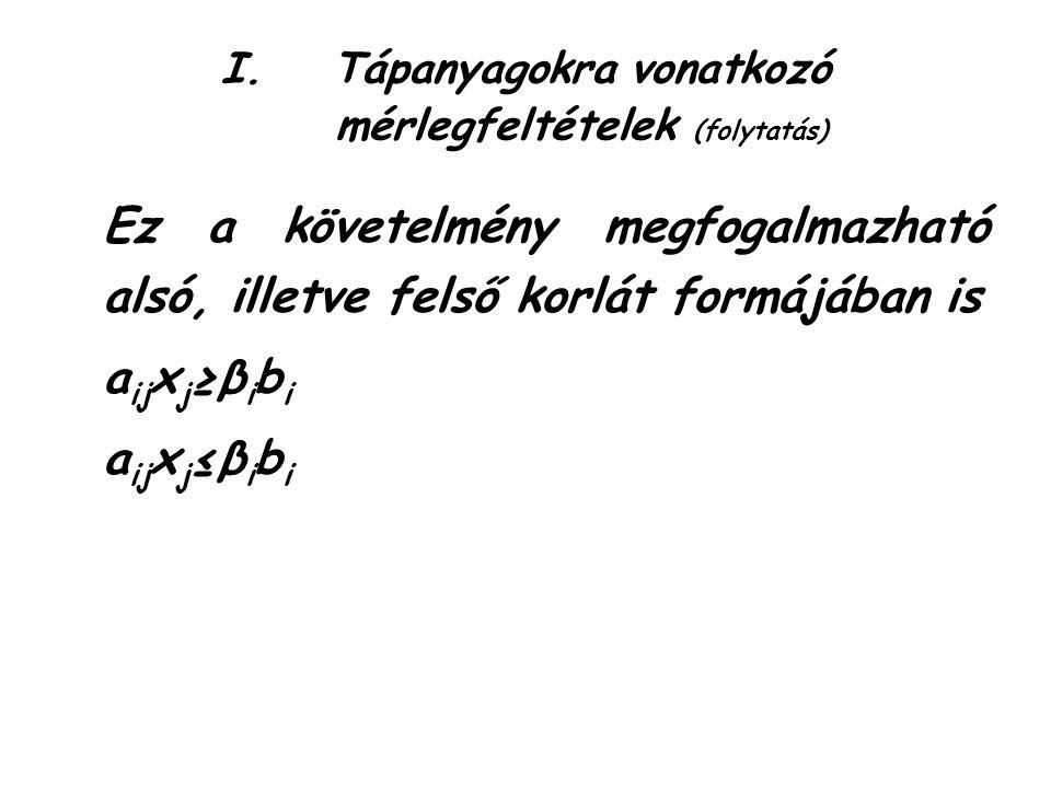 I.Tápanyagokra vonatkozó mérlegfeltételek (folytatás) Ez a követelmény megfogalmazható alsó, illetve felső korlát formájában is a ij x j ≥β i b i a ij x j ≤β i b i