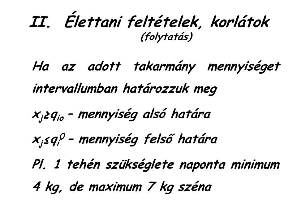 II.Élettani feltételek, korlátok (folytatás) Ha az adott takarmány mennyiséget intervallumban határozzuk meg x j ≥q io – mennyiség alsó határa x j ≤q i 0 – mennyiség felső határa Pl.