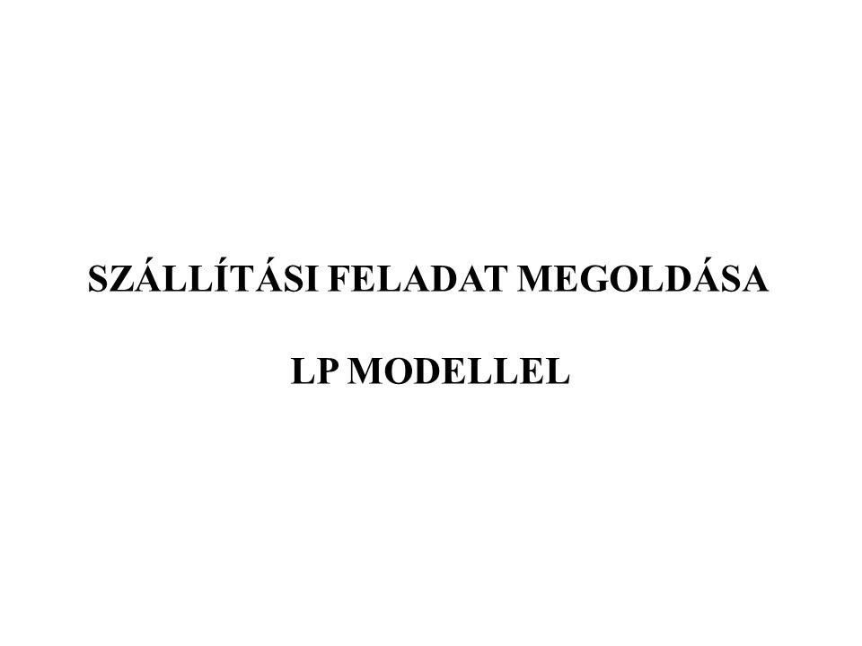 SZÁLLÍTÁSI FELADAT MEGOLDÁSA LP MODELLEL