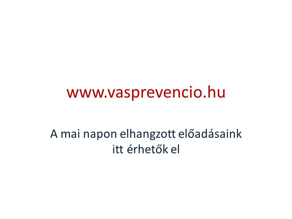 www.vasprevencio.hu A mai napon elhangzott előadásaink itt érhetők el