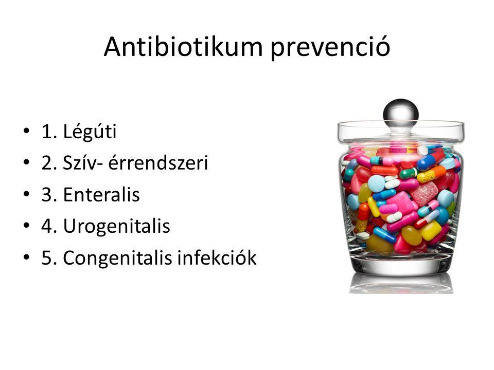 Antibiotikum prevenció 1. Légúti 2. Szív- érrendszeri 3.