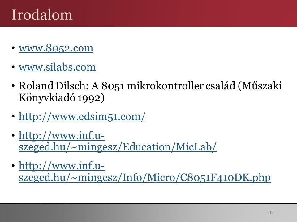 Irodalom www.8052.com www.silabs.com Roland Dilsch: A 8051 mikrokontroller család (Műszaki Könyvkiadó 1992) http://www.edsim51.com/ http://www.inf.u- szeged.hu/~mingesz/Education/MicLab/ http://www.inf.u- szeged.hu/~mingesz/Education/MicLab/ http://www.inf.u- szeged.hu/~mingesz/Info/Micro/C8051F410DK.php http://www.inf.u- szeged.hu/~mingesz/Info/Micro/C8051F410DK.php 37