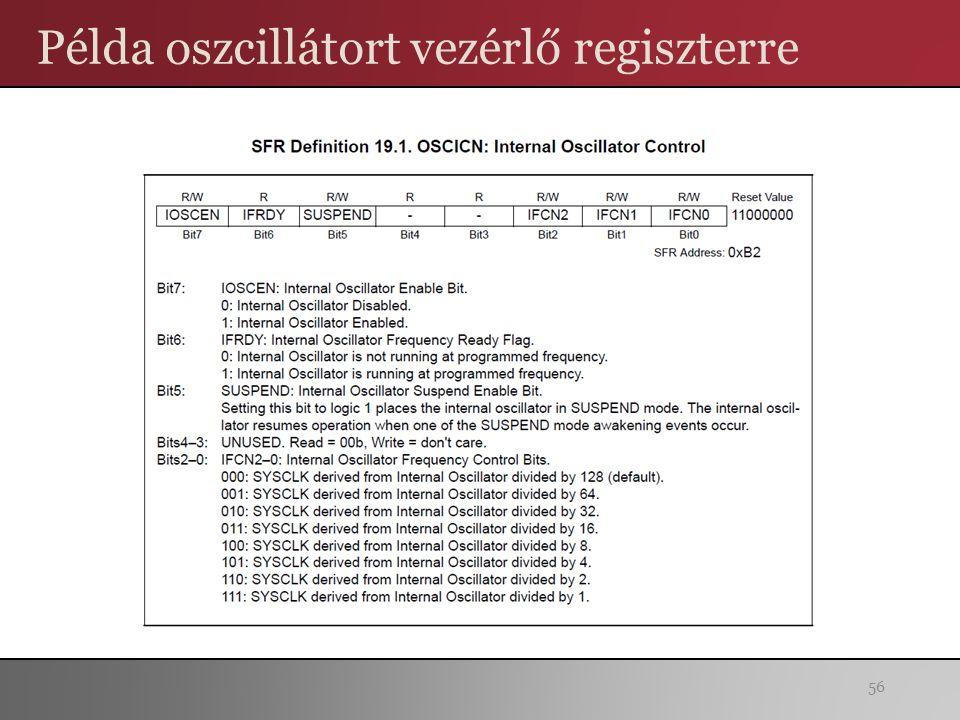 Példa oszcillátort vezérlő regiszterre 56