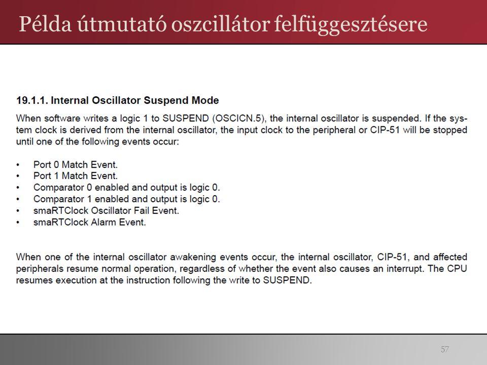 Példa útmutató oszcillátor felfüggesztésere 57