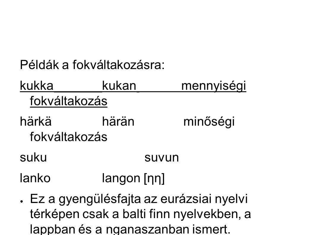 Példák a fokváltakozásra: kukkakukan mennyiségi fokváltakozás härkähärän minőségi fokváltakozás suku suvun lankolangon [ηη] ● Ez a gyengülésfajta az eurázsiai nyelvi térképen csak a balti finn nyelvekben, a lappban és a nganaszanban ismert.