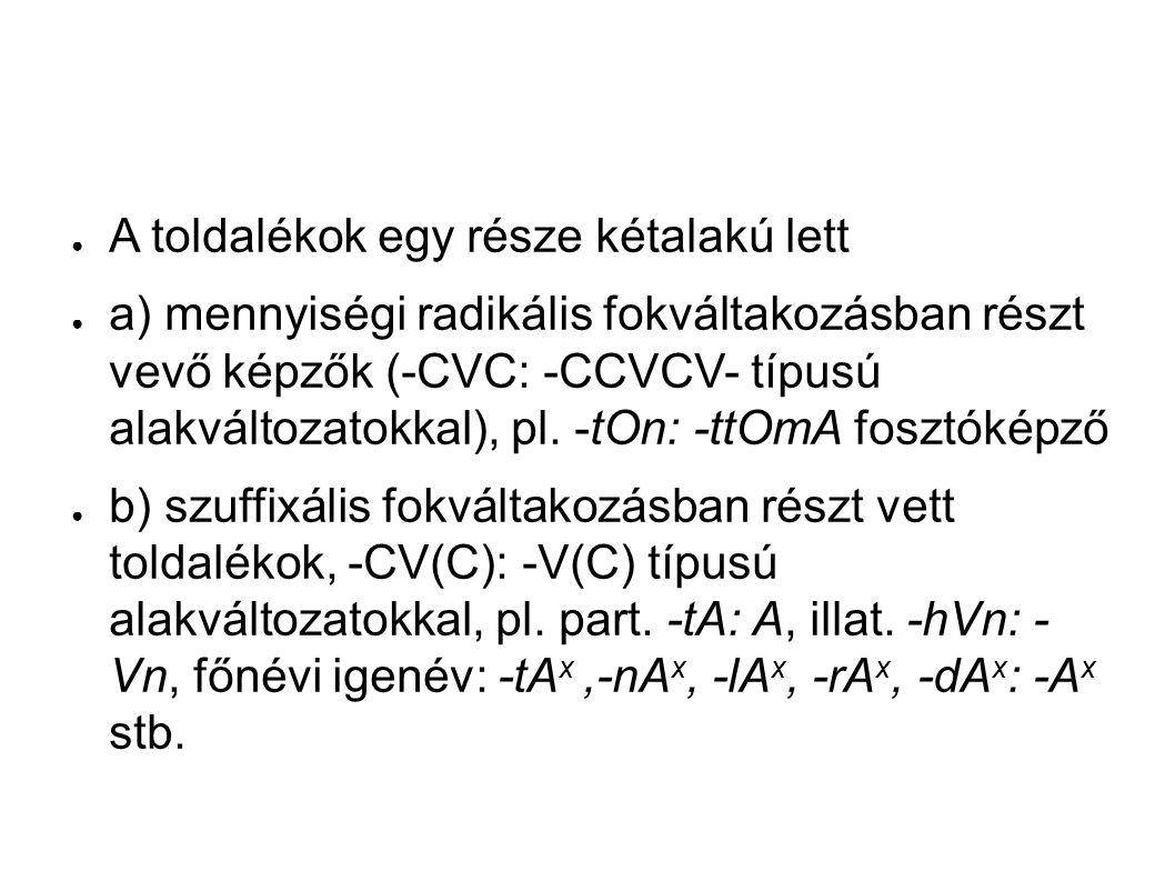 ● A toldalékok egy része kétalakú lett ● a) mennyiségi radikális fokváltakozásban részt vevő képzők (-CVC: -CCVCV- típusú alakváltozatokkal), pl.