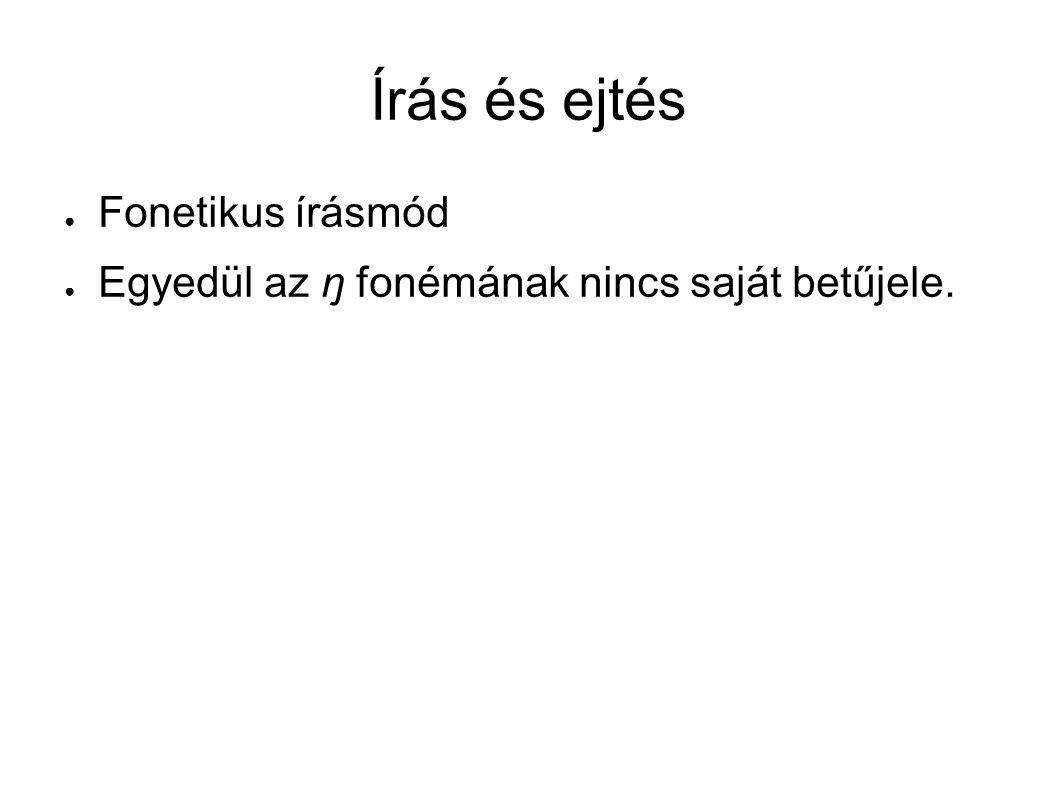 Írás és ejtés ● Fonetikus írásmód ● Egyedül az ŋ fonémának nincs saját betűjele.