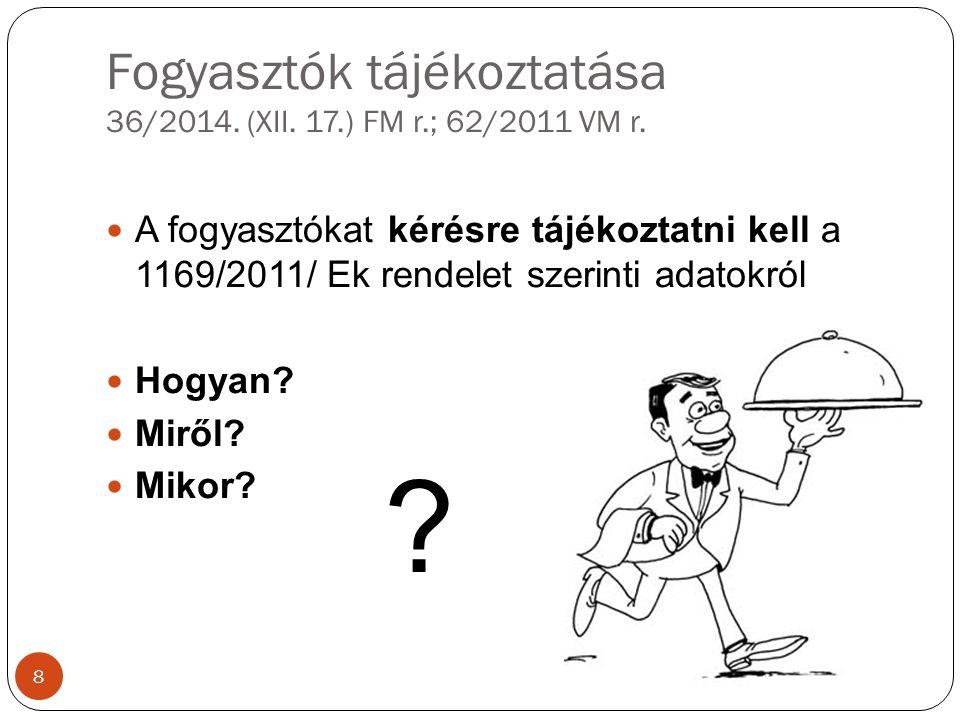 Fogyasztók tájékoztatása 36/2014. (XII. 17.) FM r.; 62/2011 VM r.