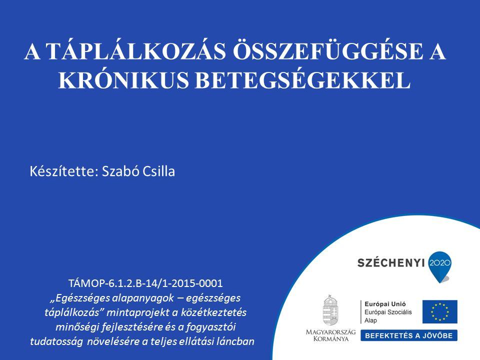 """A TÁPLÁLKOZÁS ÖSSZEFÜGGÉSE A KRÓNIKUS BETEGSÉGEKKEL TÁMOP-6.1.2.B-14/1-2015-0001 """"Egészséges alapanyagok – egészséges táplálkozás mintaprojekt a közétkeztetés minőségi fejlesztésére és a fogyasztói tudatosság növelésére a teljes ellátási láncban Készítette: Szabó Csilla"""