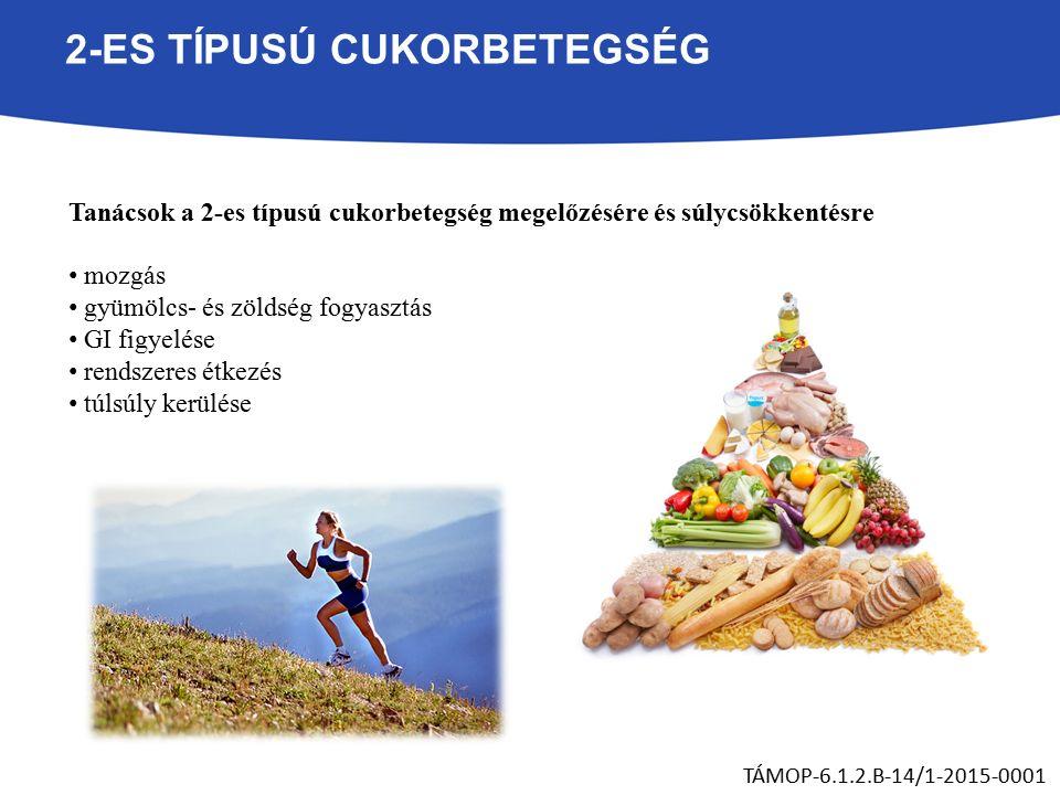 2-ES TÍPUSÚ CUKORBETEGSÉG Tanácsok a 2-es típusú cukorbetegség megelőzésére és súlycsökkentésre mozgás gyümölcs- és zöldség fogyasztás GI figyelése rendszeres étkezés túlsúly kerülése TÁMOP-6.1.2.B-14/1-2015-0001