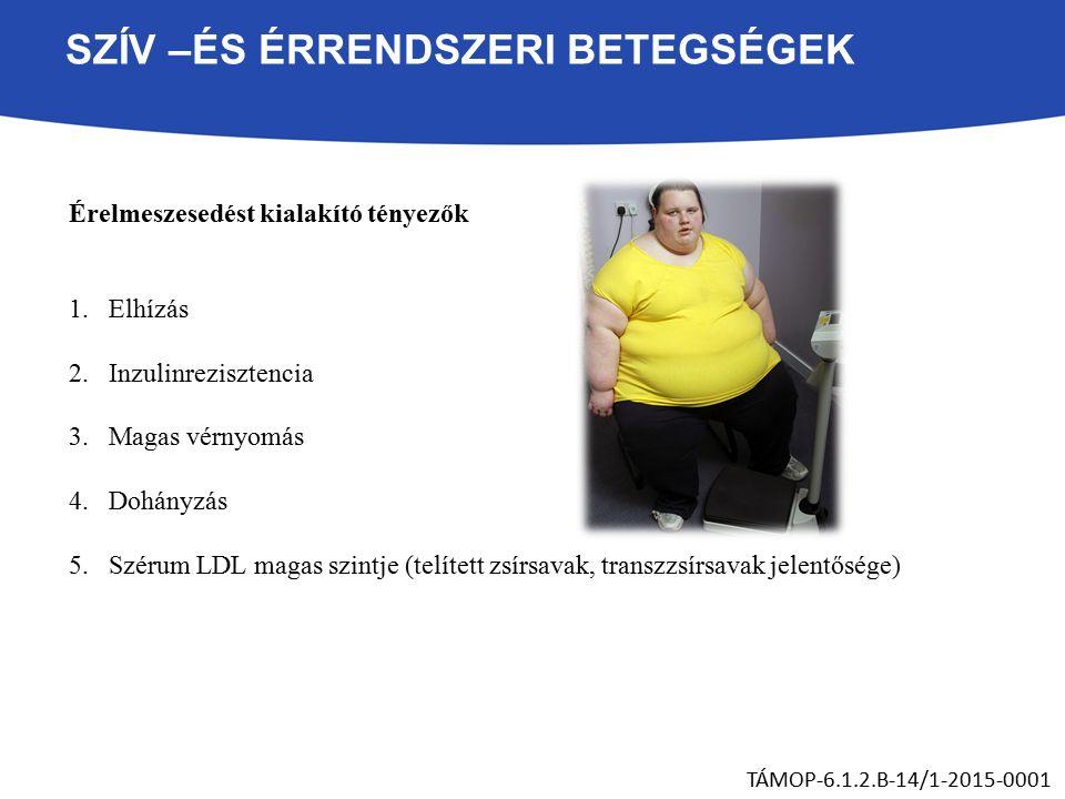 SZÍV –ÉS ÉRRENDSZERI BETEGSÉGEK Érelmeszesedést kialakító tényezők 1.Elhízás 2.Inzulinrezisztencia 3.Magas vérnyomás 4.Dohányzás 5.Szérum LDL magas szintje (telített zsírsavak, transzzsírsavak jelentősége) TÁMOP-6.1.2.B-14/1-2015-0001
