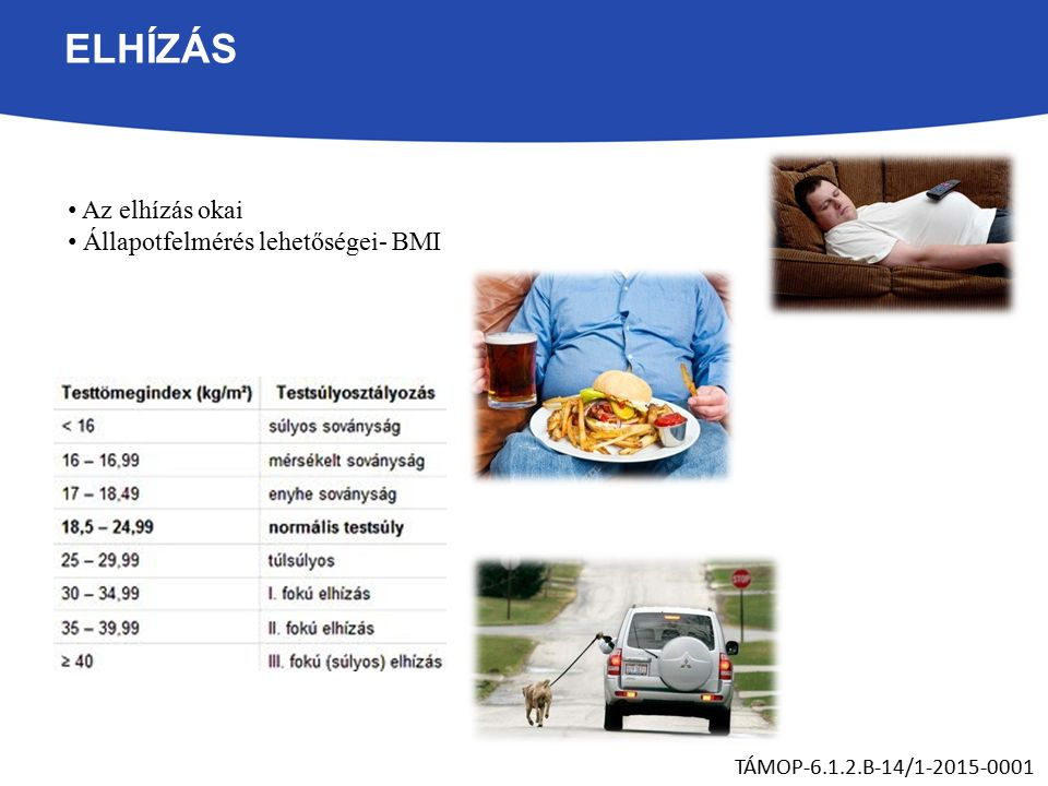 ELHÍZÁS Az elhízás okai Állapotfelmérés lehetőségei- BMI TÁMOP-6.1.2.B-14/1-2015-0001