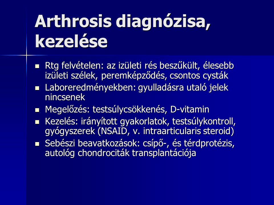 Arthrosis diagnózisa, kezelése Rtg felvételen: az izületi rés beszűkült, élesebb izületi szélek, peremképződés, csontos cysták Rtg felvételen: az izületi rés beszűkült, élesebb izületi szélek, peremképződés, csontos cysták Laboreredményekben: gyulladásra utaló jelek nincsenek Laboreredményekben: gyulladásra utaló jelek nincsenek Megelőzés: testsúlycsökkenés, D-vitamin Megelőzés: testsúlycsökkenés, D-vitamin Kezelés: irányított gyakorlatok, testsúlykontroll, gyógyszerek (NSAID, v.