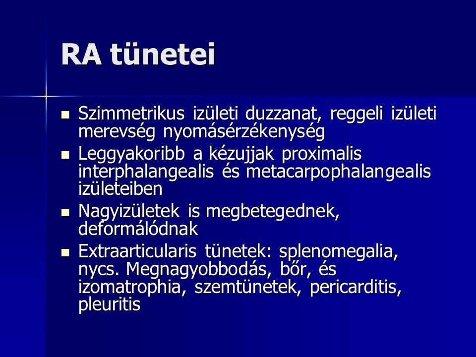 RA tünetei Szimmetrikus izületi duzzanat, reggeli izületi merevség nyomásérzékenység Szimmetrikus izületi duzzanat, reggeli izületi merevség nyomásérzékenység Leggyakoribb a kézujjak proximalis interphalangealis és metacarpophalangealis izületeiben Leggyakoribb a kézujjak proximalis interphalangealis és metacarpophalangealis izületeiben Nagyizületek is megbetegednek, deformálódnak Nagyizületek is megbetegednek, deformálódnak Extraarticularis tünetek: splenomegalia, nycs.