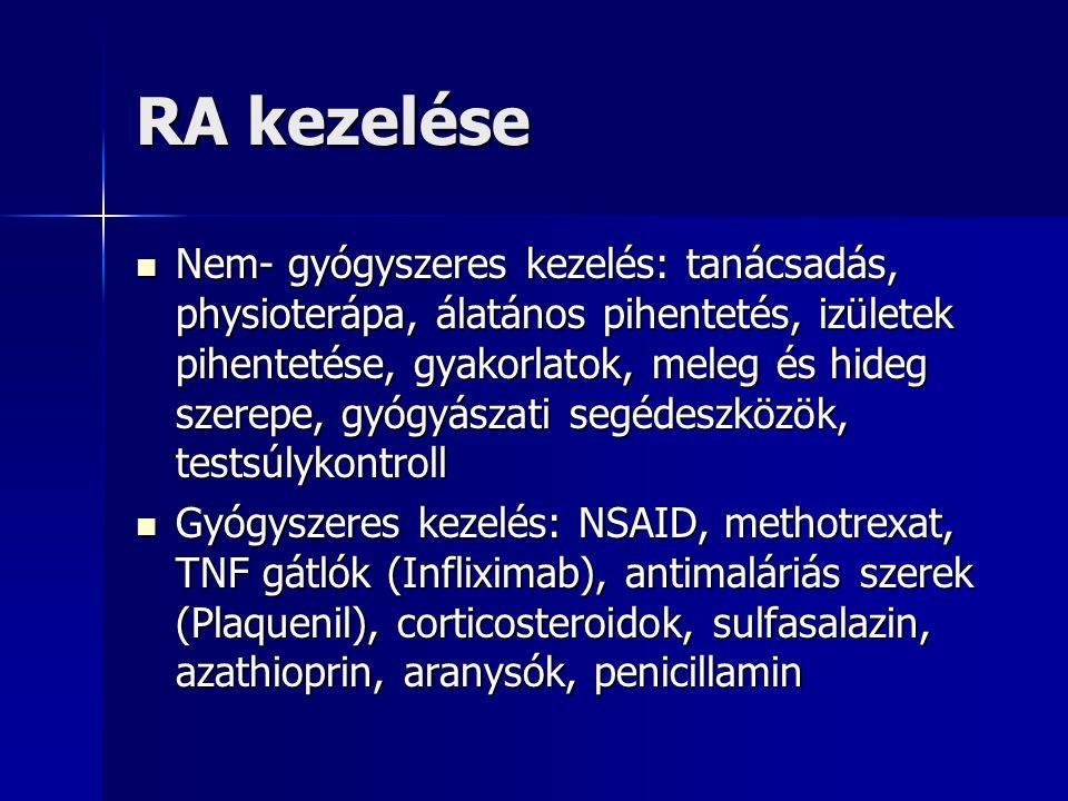 RA kezelése Nem- gyógyszeres kezelés: tanácsadás, physioterápa, álatános pihentetés, izületek pihentetése, gyakorlatok, meleg és hideg szerepe, gyógyászati segédeszközök, testsúlykontroll Nem- gyógyszeres kezelés: tanácsadás, physioterápa, álatános pihentetés, izületek pihentetése, gyakorlatok, meleg és hideg szerepe, gyógyászati segédeszközök, testsúlykontroll Gyógyszeres kezelés: NSAID, methotrexat, TNF gátlók (Infliximab), antimaláriás szerek (Plaquenil), corticosteroidok, sulfasalazin, azathioprin, aranysók, penicillamin Gyógyszeres kezelés: NSAID, methotrexat, TNF gátlók (Infliximab), antimaláriás szerek (Plaquenil), corticosteroidok, sulfasalazin, azathioprin, aranysók, penicillamin