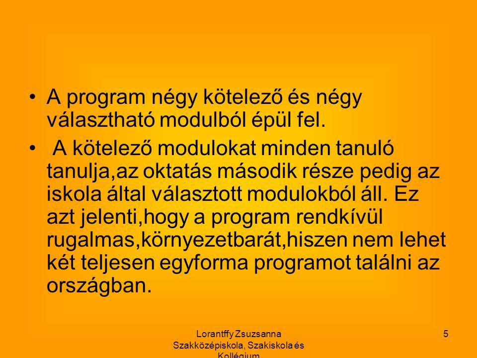Lorantffy Zsuzsanna Szakközépiskola, Szakiskola és Kollégium 5 A program négy kötelező és négy választható modulból épül fel.