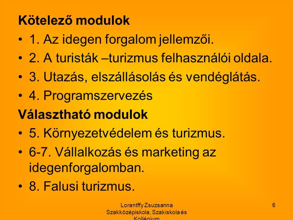 Lorantffy Zsuzsanna Szakközépiskola, Szakiskola és Kollégium 6 Kötelező modulok 1.