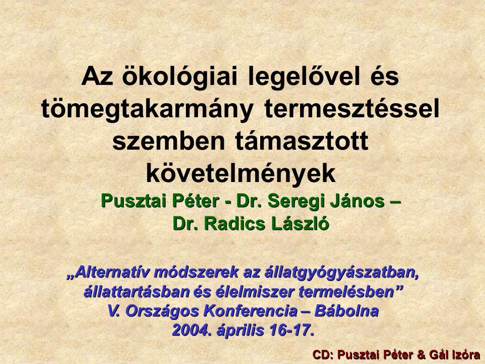 Az ökológiai legelővel és tömegtakarmány termesztéssel szemben támasztott követelmények Pusztai Péter - Dr.