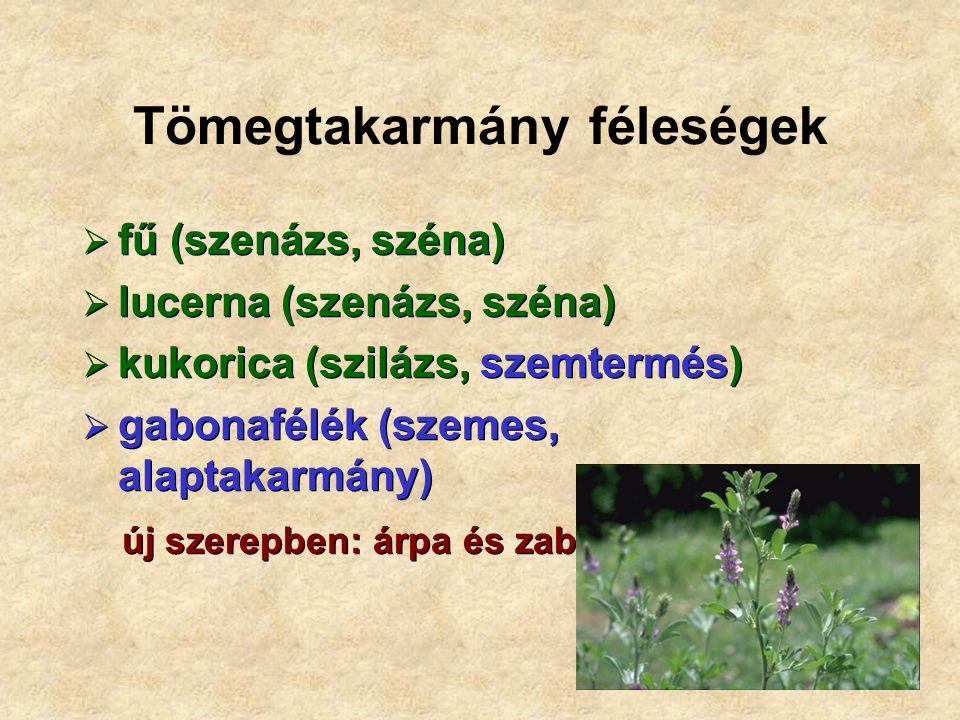 Tömegtakarmány féleségek  fű (szenázs, széna)  lucerna (szenázs, széna)  kukorica (szilázs, szemtermés)  gabonafélék (szemes, alaptakarmány)  fű (szenázs, széna)  lucerna (szenázs, széna)  kukorica (szilázs, szemtermés)  gabonafélék (szemes, alaptakarmány) új szerepben: árpa és zab