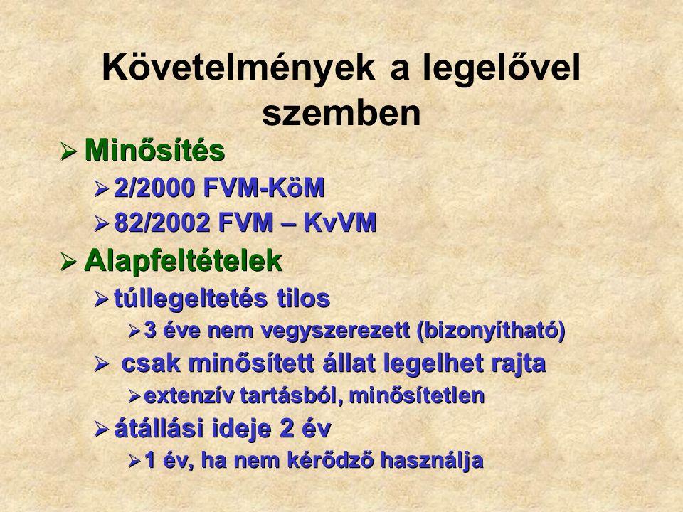 Követelmények a legelővel szemben  Minősítés  2/2000 FVM-KöM  82/2002 FVM – KvVM  Alapfeltételek  túllegeltetés tilos  3 éve nem vegyszerezett (bizonyítható)  csak minősített állat legelhet rajta  extenzív tartásból, minősítetlen  átállási ideje 2 év  1 év, ha nem kérődző használja  Minősítés  2/2000 FVM-KöM  82/2002 FVM – KvVM  Alapfeltételek  túllegeltetés tilos  3 éve nem vegyszerezett (bizonyítható)  csak minősített állat legelhet rajta  extenzív tartásból, minősítetlen  átállási ideje 2 év  1 év, ha nem kérődző használja