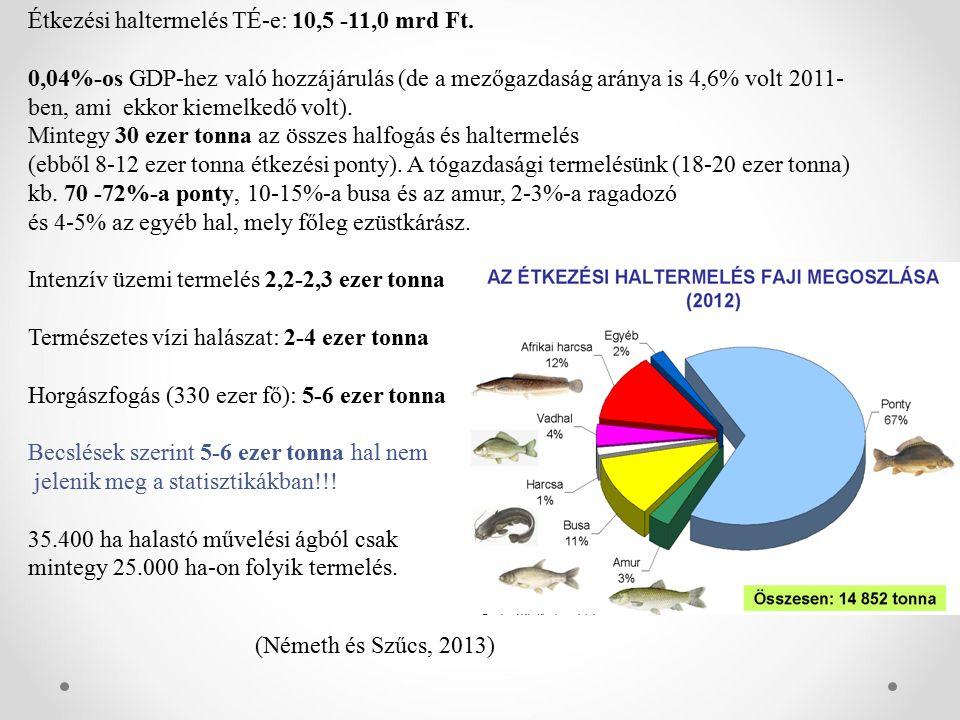 Étkezési haltermelés TÉ-e: 10,5 -11,0 mrd Ft.